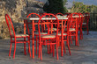 still life with red chairs and tables, Lesbos, Greece