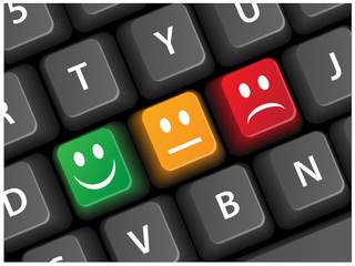Smiley Survey Keys on Keyboard (Buttons Satisfaction Vector)