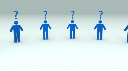humans with question marks concept loopable 3d animation