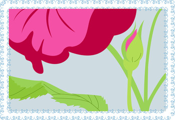 Vector pink flower on blue background