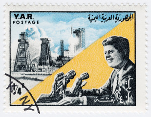 Stamp printed in YAR shows John F Kennedy