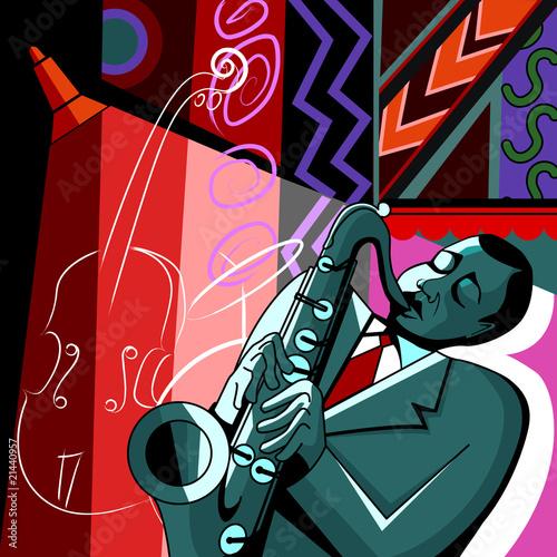 saksofonista na tle barwnym