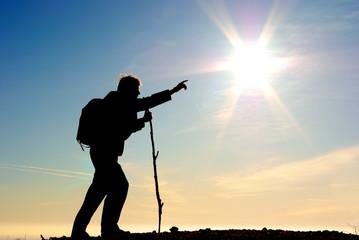 Traveler and big sun