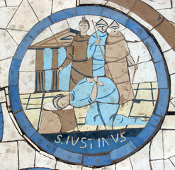 Saint Justin Martyr, mosaic,  Mount of Beatitudes