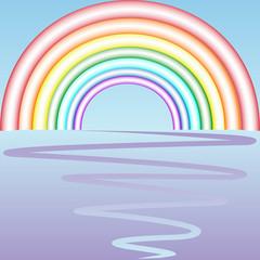 retro rainbow composition