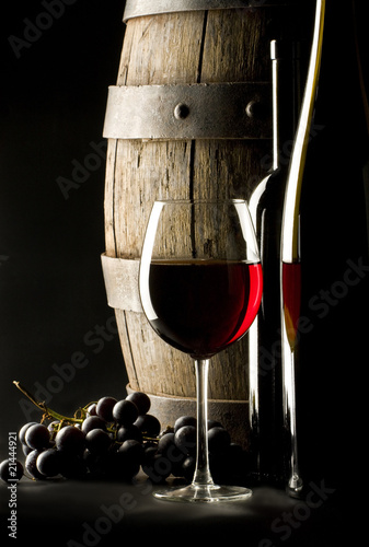 still life with glass wine