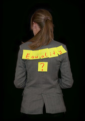 Businesswoman, work equality, black background