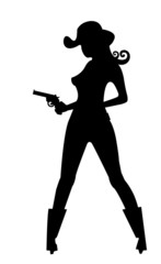 silhouette of cowgirl with gun