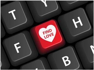 FIND LOVE key on keyboard (vector online romance dating)