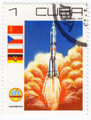 Stamp shows space exploration