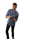 Tall Hipster with Headphones poster