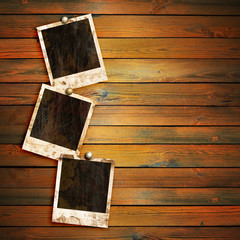 old photo frames on wood