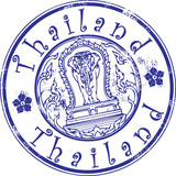 Fototapety Grunge stamp with Thailand symbol and the word Thailand