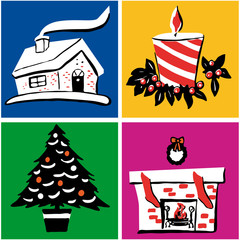 collection of festive christmas icons