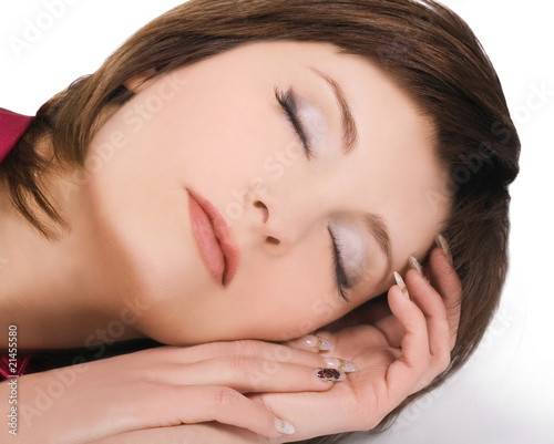 Brightly picture of  lovely young sleeping woman