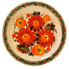 Ukrainian handmade painted wooden plate on white