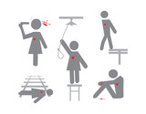 set of vector suicide symbols poster