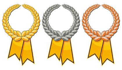 medaille d'or d'argent et de bronze