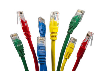Bunch of brightly multi coloured ethernet network cables