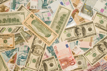 World currency - Dollars, euros, roubles of Russia