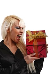 screaming young woman with a present (cutout)