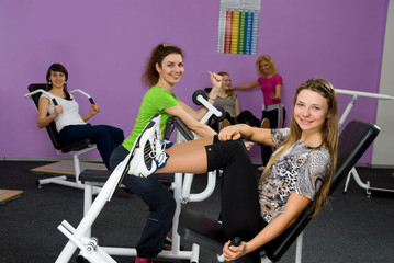 five girls in the fitness center