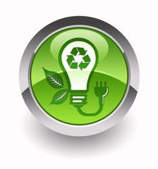 ''Eco light bulb'' glossy icon
