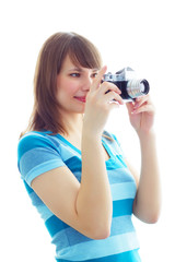 Girl photographs on a white background