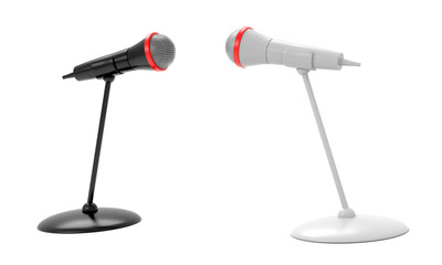 Black and white microphones