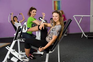 group of girls in the fitness center