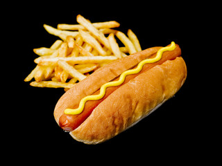 hot dog with french fries