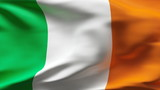 Creased Irish flag in wind with seams and wrinkle poster