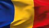 Creased Romania flag in wind with seams and wrinkle poster