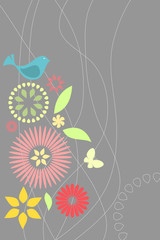 Retro flora and fauna with text space
