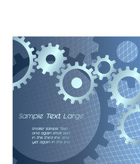 Gears with techno grid blue background