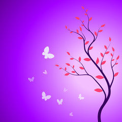 Spring branch with butterflies