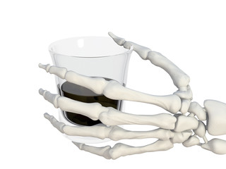 mano scheletro bicchiere alcolico