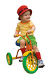 Happy baby child boy on a tricycle