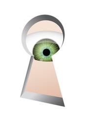 Eye beyond the keyhole, isolated on white