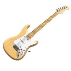 3D model of electric guitar in wood