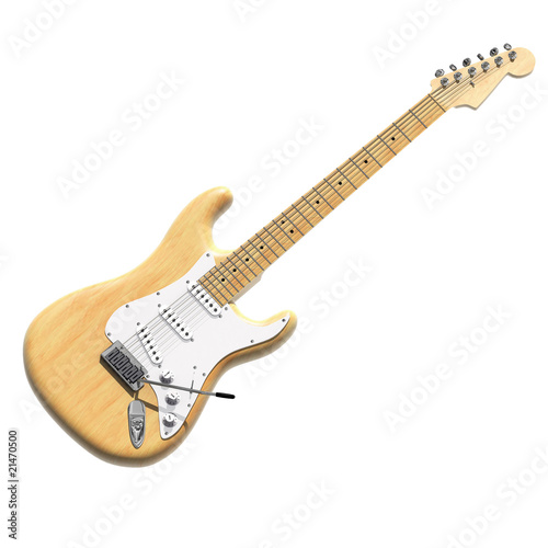 3D model of electric guitar in wood