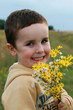 Boy with flowers for mummy