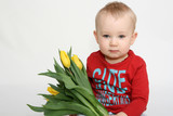 Boy with flowers for mummy poster