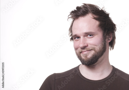 Average joe smiling with copy space. isolated on white.