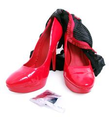 High heels, knickers & condom wrapper