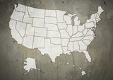 Fototapety Map of US with marked states