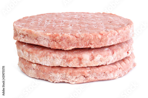 Three Frozen Hamburger Patties