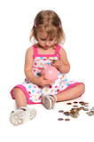Girl Inserting Coins into Piggy Bank poster