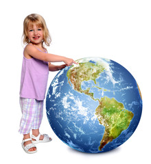 Child Holding and Pointing Earth