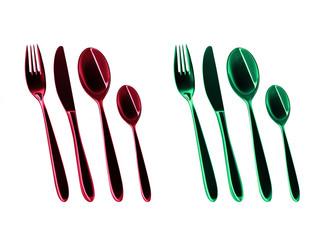 Besteck in Rot und Grün